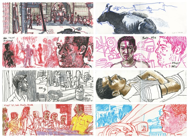 8 x india sketchbook drawings small