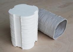 Modular slip-cast porcelain forms