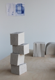 Stacked polystyrene blocks, porcelain